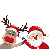 reindeer and santa claus wave