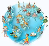 Globe with multicultural kids