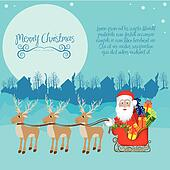 Santa with sleigh full of gifts and reindeer
