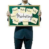 Business man holding board on the background, Marketing concept