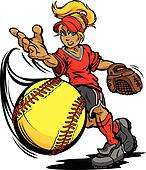 Fastpitch Softball Player Pitching Fast pitch Softball  Vector I