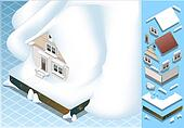 isometric house hit by landslide of Snow