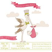 Baby Shower Card with Stork - with place for your text - in vector