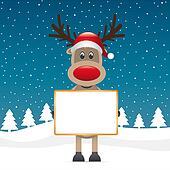 reindeer red nose holding signboad
