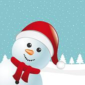 snowman scarf and santa claus hat