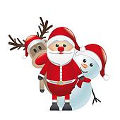 reindeer red nose santa claus snowman