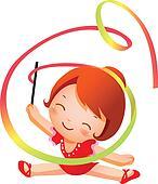 Girl practicing rhythmic gymnast pe
