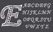 Silver alphabet with diamonds, lett
