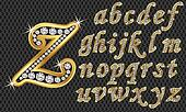 Golden alphabet with diamonds, lett