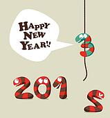 Funny snake Happy new year 2013 greeting card