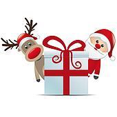 reindeer santa claus christmas gift box