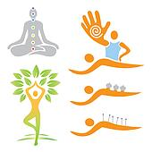 Icons yoga massage alternative medi