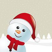 snowman scarf and santa claus hat