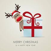 reindeer behind gift box