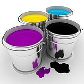 3d paint buckets on white background