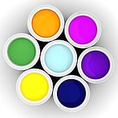 3d colorful paint buckets on white background