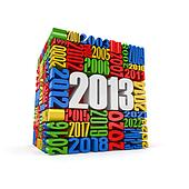 New year 2013.cube built from numbers.