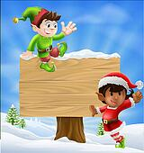 Christmas Elves and Sign