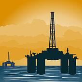 Oil extraction tower in the sea