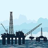 Oil platforms at sea