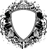 skulls in graduation cap and shield