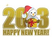 2013 Happy new year snowman text
