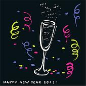New year glass of champagne-vector