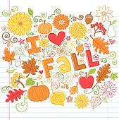 Fall Autumn Sketchy Doodles Vector