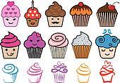 Cute cupcake designs, vector set