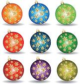Christmas balls with gold ornaments