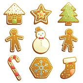 Gingerbread cookies icons