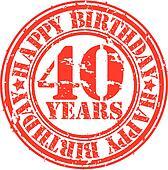 Grunge 40 years happy birthday rubb