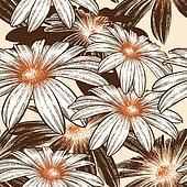 Glamour seamless wallpaper with Camomile, hand drawing. Vector i