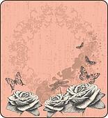 Pink vintage background with decora