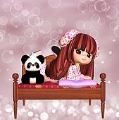 Cute Girl With Panda