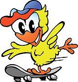 chicken on skateboard