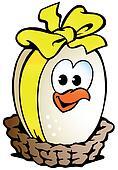 chicken egg sitting in a basket