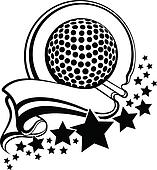 Golf With Pennant & Stars Design