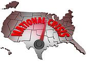National Crisis USA Map United States America Trouble