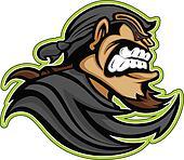 Bandit Raider Thief Mascot with Mask and Bandana Graphic Vector