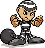 Tough Guy Cartoon Prisoner with Ball and Chain Vector Graphic