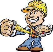 Happy Handyman Contractor Standing  Cartoon Vector Image