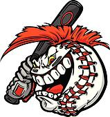 Baseball with Cartoon Face and Mohawk Hair Swinging Bat Vector I