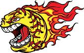 Fastpitch Softball Ball Screaming Face with Flames Vector Image