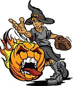 Fastpitch Softball Halloween Witch Pitching Screaming Pumpkin wi