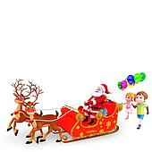 santa with kid and sleigh