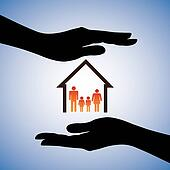 Concept illustration of safety of house and family. The graphic
