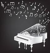 white grand piano and notes