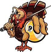 Billiards Nine Ball Thanksgiving Holiday Turkey Cartoon Vector I