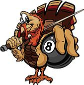 Cartoon Vector Image of a Thanksgiving Holiday Billiards or Pool Turkey Holding an Eight Ball and Pool Cue